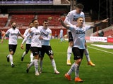 Derby County's Martyn Waghorn celebrates scoring against Nottingham Forest in the Championship on October 23, 2020