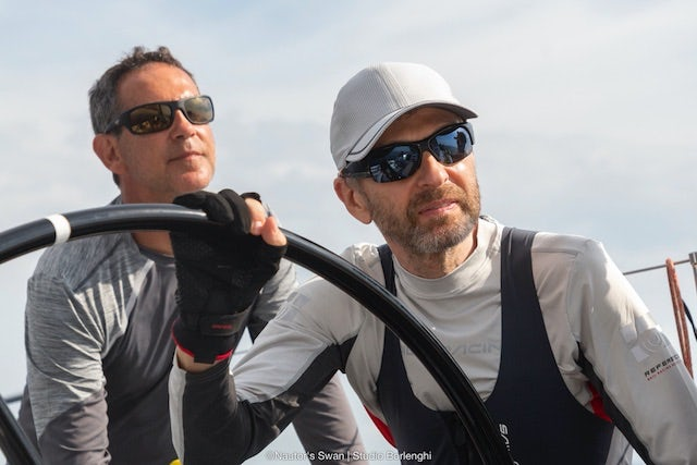 Dmitry Rybolovlev, owner & helmsman (right) & Fernando Echavarri, Olympic champion & tactician (left), Skorpidi yacht