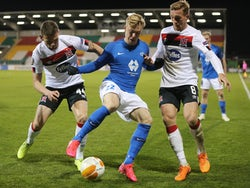 Molde's Ola Brynhildsen in action with Dundalk's John Mountney and Andy Boyle in the Europa League on October 22, 2020