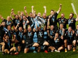 Exeter Chiefs celebrate winning the Premiership final on October 24, 2020