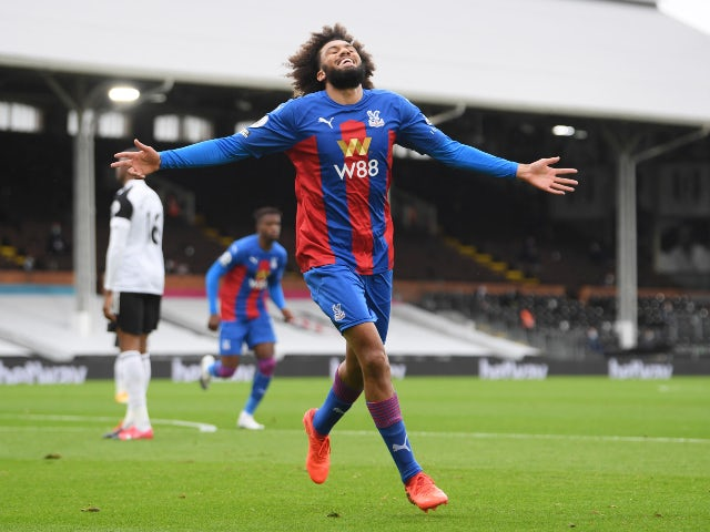 Jairo Riedewald celebrates scoring for Crystal Palace against Fulham in the Premier League on October 24, 2020