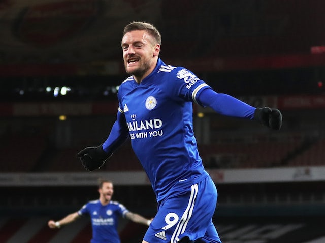 Leicester City's Jamie Vardy celebrates scoring against Arsenal in the Premier League on October 25, 2020