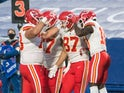 Kansas City Chief players celebrate a touchdown against Buffalo Bills on October 19, 2020