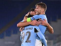 Lazio players celebrate Ciro Immobile's goal against Borussia Dortmund in October 2020