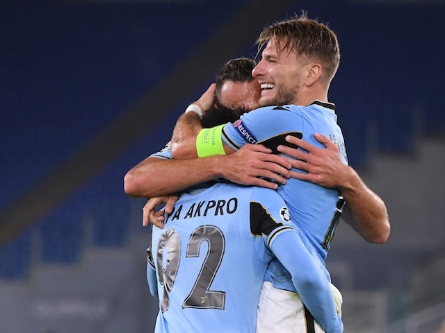 Lazio players celebrate Ciro Immobile's goal against Borussia Dortmund in October 2020