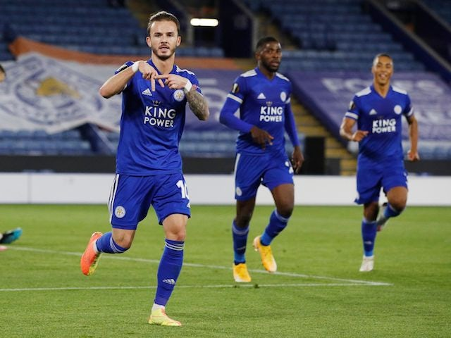 Leicester City's James Maddison celebrates scoring against Zorya Luhansk in the Europa League on October 22, 2020