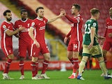 Liverpool's Diogo Jota pictured with teammates after scoring against Sheffield United in the Premier League on October 24, 2020