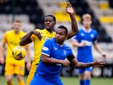 Livingston's Marvin Bartley in action with Rangers forward Alfredo Morelos in August 2020