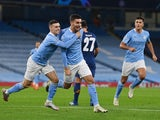 Manchester City's Ferran Torres celebrates scoring against Porto in the Champions League on October 21, 2020
