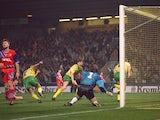 Norwich City score against Bayern Munich in a 1993 UEFA Cup clash