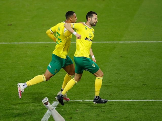 Norwich City's Marko Vrancic celebrates scoring against Birmingham City on October 20, 2020