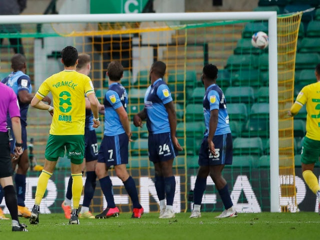 Norwich City's Mario Vrancic scores a free-kick against Wycombe Wanderers in the Championship on October 24, 2020