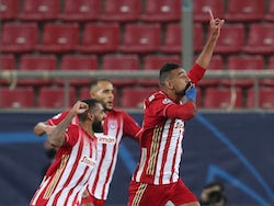 Olympiacos' Ahmed Hassan celebrates scoring against Marseille in the Champions League on October 21, 2020