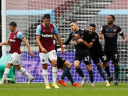 Phil Foden celebrates scoring for Manchester City against West Ham United in the Premier League on October 24, 2020