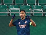 Arsenal's Pierre-Emerick Aubameyang celebrates scoring against Rapid Vienna in the Europa League on October 22, 2020