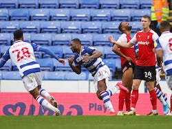 Reading's Yakou Meite celebrates scoring against Rotherham United in the Championship on October 24, 2020