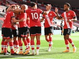 Southampton's James Ward-Prowse celebrates scoring against Everton in the Premier League on October 25, 2020