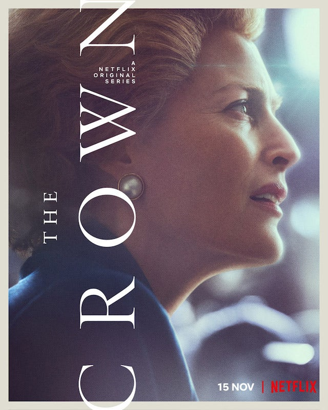 Margaret Thatcher on the poster for The Crown season four