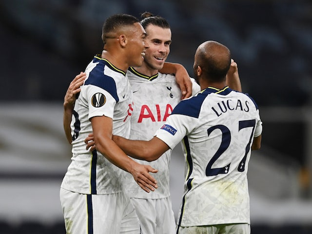 Tottenham Hotspur's Gareth Bale celebrates with Lucas Moura and Carlos Vinicius during the Europa League clash with LASK Linz on October 22, 2020