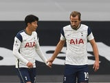 Tottenham Hotspur duo Harry Kane and Son Heung-min celebrate scoring against West Ham United on October 18, 2020