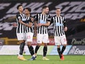 Newcastle United's Jacob Murphy celebrates scoring against Wolverhampton Wanderers in the Premier League on October 25, 2020