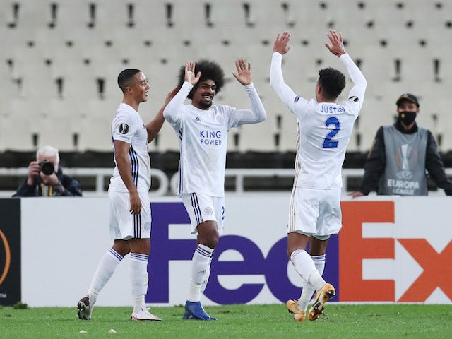 Leicester City's Hamza Choudhury celebrates scoring against AEK Athens in the Europa League on October 29, 2020