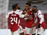 Arsenal's Joe Willock celebrates scoring against Dundalk in the Europa League on October 29, 2020