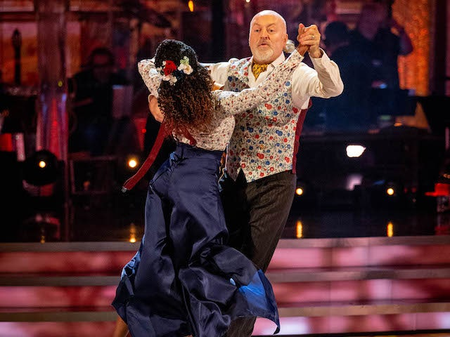 Bill Bailey and Oti Mabuse on Strictly Come Dancing week two on October 31, 2020
