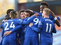 Chelsea's Hakim Ziyech celebrates with teammates after scoring against Burnley on October 31, 2020