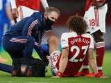 David Luiz receives treatment for an injury on October 25, 2020
