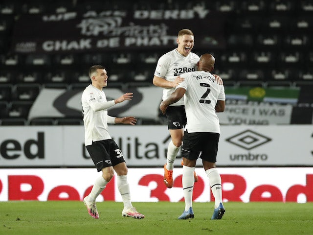 Derby County's Martyn Waghorn celebrates scoring against Cardiff City in the Championship on October 28, 2020