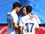 Eden Hazard celebrates with teammates after scoring for Real Madrid against Huesca in La Liga on October 31, 2020
