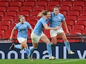 Manchester City's Georgia Stanway celebrates scoring against Everton in the Women's FA Cup final on November 1, 2020