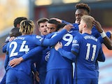 Hakim Ziyech celebrates with teammates after scoring for Chelsea against Burnley in the Premier League on October 31, 2020