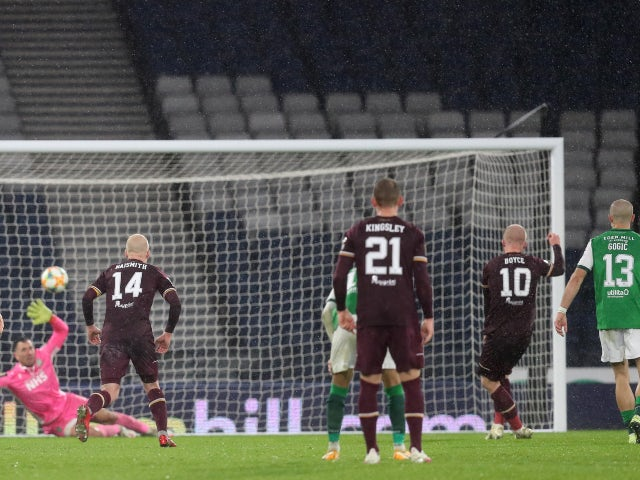 Hearts' Liam Boyce scores from the penalty spot against Hibernian in the Scottish Cup on October 31, 2020