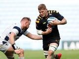 Jack Willis in action for Wasps against Bristol Bears' Joe Joyce in October 2020