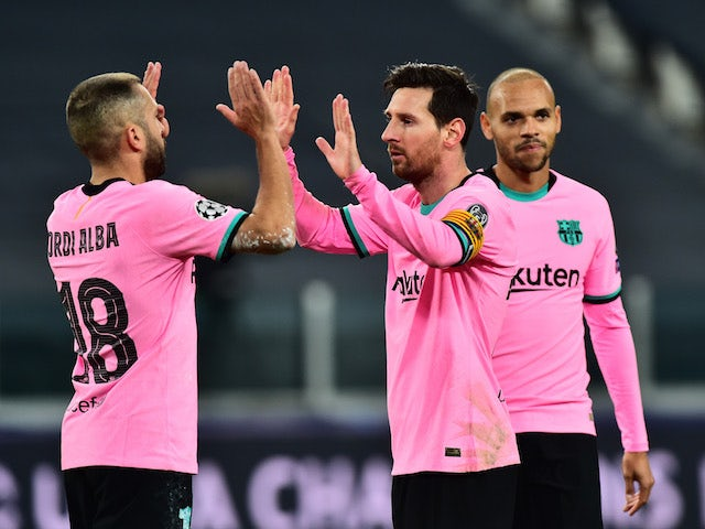 Barcelona's Lionel Messi celebrates scoring against Juventus in the Champions League on October 28, 2020