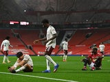 Arsenal's Hector Bellerin reacts after he is fouled by Manchester United's Paul Pogba in the Premier League on November 1, 2020