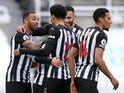 Newcastle United's Callum Wilson celebrates scoring against Everton in the Premier League on November 1, 2020