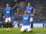 Rangers striker Alfredo Morelos celebrates scoring against Lech Poznan in the Europa League on October 29, 2020