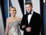 Scarlett Johansson and Colin Jost pictured on February 9, 2020
