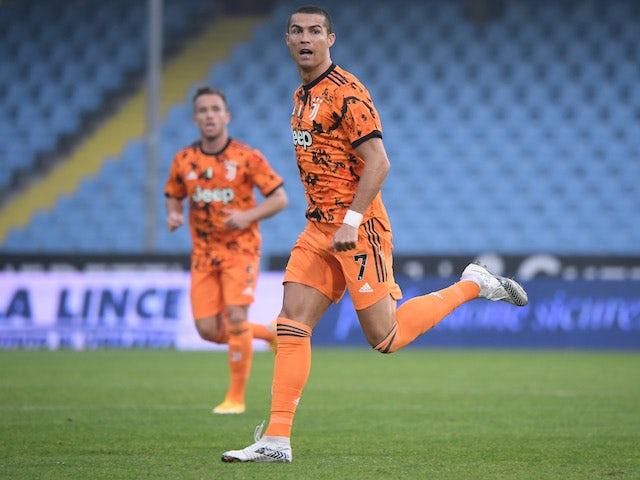 Juventus attacker Cristiano Ronaldo celebrates scoring against Spezia in Serie A on November 1, 2020
