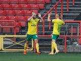 Teemu Pukki celebrates after scoring for Norwich City against Bristol City in the Championship on October 31, 2020