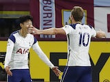 Son Heung-min and Harry Kane celebrate after Tottenham Hotspur take the lead against Burnley on October 26, 2020