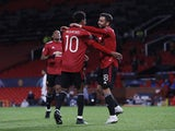 Manchester United's Marcus Rashford celebrates scoring against RB Leipzig in the Champions League on October 28, 2020