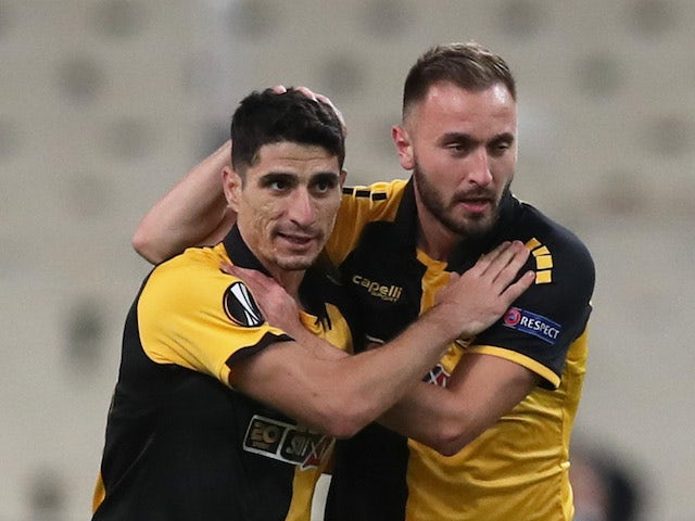 AEK Athens players celebrate scoring against Leicester City in. the Europa League in October 2020