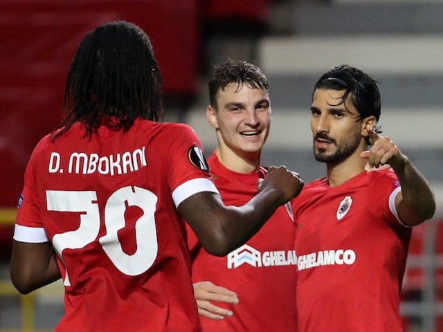 Royal Antwerp players celebrate Lior Refaelov's goal against Tottenham Hotspur in October 2020