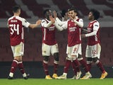 Arsenal players celebrate after a Molde own goal in the Europa League on November 5, 2020