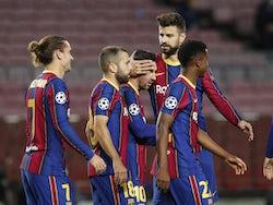 Barcelona players celebrate Lionel Messi's goal against Dynamo Kiev on November 4, 2020