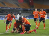 Istanbul Basaksehir's Demba Ba celebrates scoring against Manchester United in the Champions League on November 4, 2020